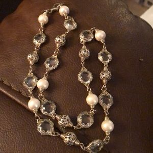 Silver, glass beads, faux pearls, silver beads